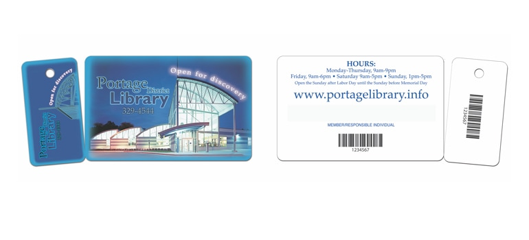 Library Card with Key Tag and printed bar code